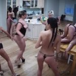 Drunk nude girls party in the kitchen
